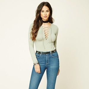 Forever 21 Sage green lace-up top